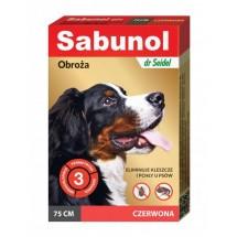Sabunol obroża czerwona 75cm na pchły i kleszcze